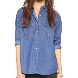 Free People Xo Denim Button Down Seventies Shirt